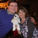 Tim Bradley with Cuddles and Sarah Sutton at the 'Cardiff Film & Comic Con', March 2014