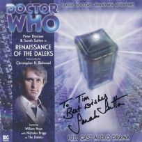 Tim Bradley's CD cover of 'Renaissance of the Daleks' signed by Sarah Sutton