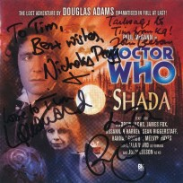Tim Bradley's CD cover of 'Shada' signed by Paul McGann, Lalla Ward, John Leeson and Nicholas Pegg