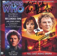 Tim Bradley's CD cover of 'Recorded Times and Other Stories' CD cover signed by Colin Baker and Nicola Bryant