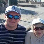 Tim Bradley and his Mum in Amroth, September 2018