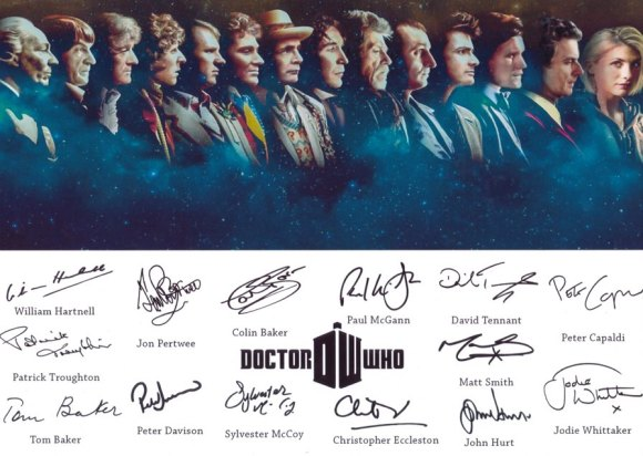 A print display of all the signatures of the fourteen Doctors featured in 'Doctor Who' including William Hartnell, Patrick Troughton, Jon Pertwee, Tom Baker, Peter Davison, Colin Baker, Sylvester McCoy, Paul McGann, John Hurt, Christopher Eccleston, David Tennant, Matt Smith, Peter Capaldi and Jodie Whittaker - Thanks Stephen