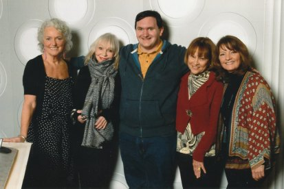 Tim Bradley with Louise Jameson, Katy Manning, Janet Fielding and Sarah Sutton at 'Science of the Time Lords', National Space Centre, Leicester, January 2019